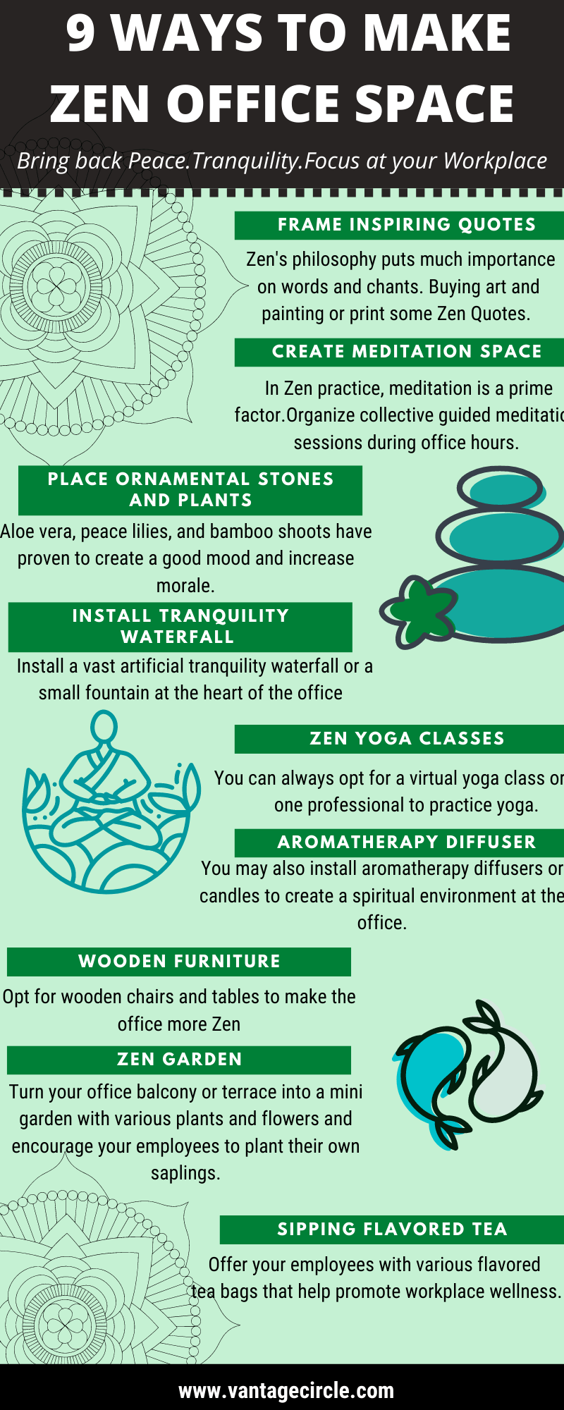 9 ways to make zen office space Infographic
