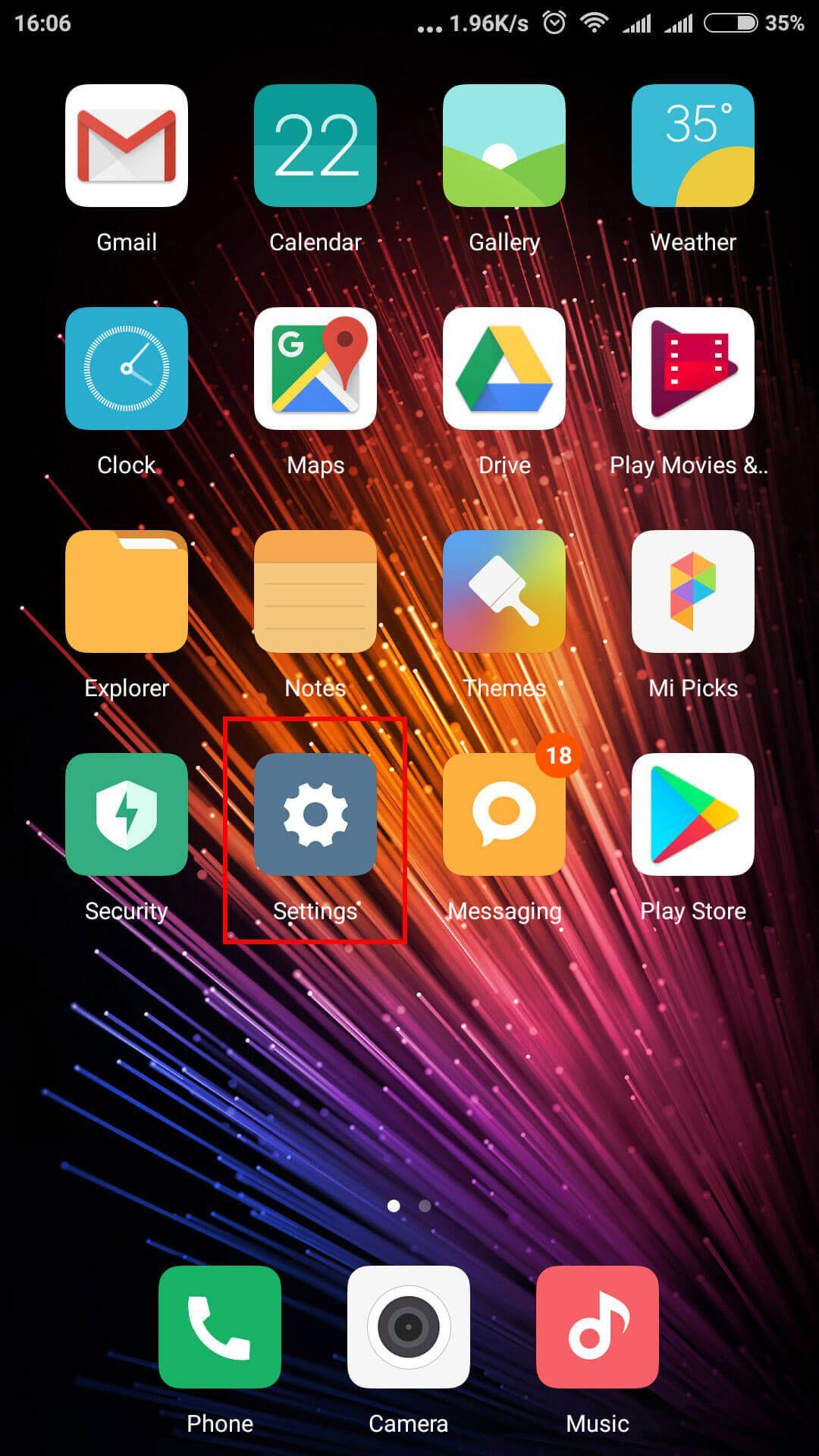Settings Interface on Xiaomi Mobiles